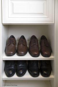 Mens Dress Shoes On White Shelves In Closet Custom Closets Alpha Closets Company Inc, 6084 Gulf Breeze Pkwy, Gulf Breeze, Fl 32563 (850) 934 9130