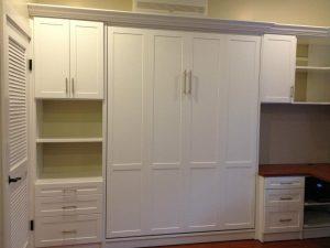 Murphy Bed In White Shaker W Desk Murphy Beds Alpha Closets & Company Inc, 6084 Gulf Breeze Pkwy, Gulf Breeze, Fl 32563 (850) 934 9130