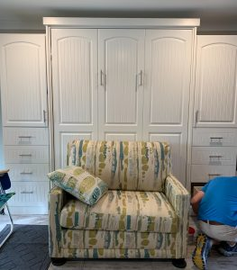 Sofa Moves Murphy Bed W Side Units Arched Bead Board Alpha Closets & Company Inc, 6084 Gulf Breeze Pkwy, Gulf Breeze, Fl 32563