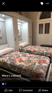 Two Twin Murphy Beds Opened Up With Closets Alpha Closets & Company Inc, 6084 Gulf Breeze Pkwy, Gulf Breeze, Fl 32563 (850)