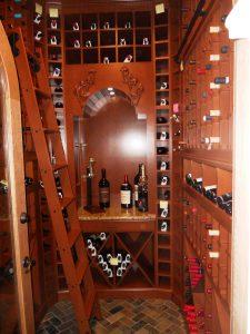 Wine Cellar Stained Cherry Wine Storage Alpha Closets Company Inc, 6084 Gulf Breeze Pkwy, Gulf Breeze, Fl 32563 (850) 934 9130