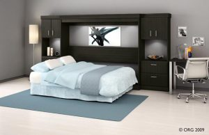 Horizontal Black Murphy Bed With Book Shelves Murphy Beds Alpha Closets Company Inc, 6084 Gulf Breeze Pkwy, Gulf Breeze, Fl