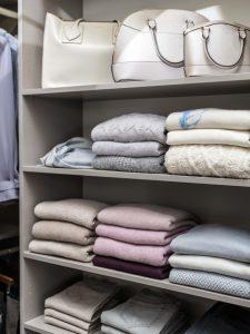 Purses And Sweaters Organized In A Closet Custom Closets Alpha Closets Company Inc, 6084 Gulf Breeze Pkwy, Gulf Breeze, Fl 32563 (850) 934 9130