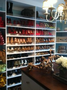 Shoes Organized In A Custom Closet By Color Custom Closets Alpha Closets Company Inc, 6084 Gulf Breeze Pkwy, Gulf Breeze, Fl 32563 (850) 934 9130